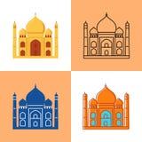 Den Taj Mahal symbolen ställde in i lägenheten och linjen stilar royaltyfri illustrationer