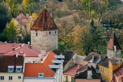 Den Tallinn staden står högt och tak från ovannämnt vid höstdag Arkivbild
