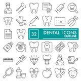 Den tand- linjen symbolsuppsättningen, tandläkekonstsymboler samlingen, vektor skissar, logoillustrationer, linjärt medicintecken Arkivbilder