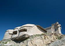 Den Tarifa slotten av Guzmà ¡ n el Bueno med defensiv står högt - Spanien, arkivfoto