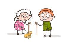 Den tecknad filmfarmodern och morfadern på morgon går med älsklings- Cat Vector Illustration Royaltyfri Fotografi