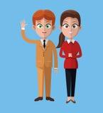 Den tecknad filmmannen och kvinnan arbetar tillsammans kontoret Royaltyfria Bilder