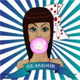 Den tecknade handen skissar Glamorös brunhårig flicka för färgrik stående Arkivfoto