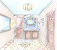 den tecknade handen skissar toaletten Royaltyfria Bilder