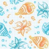 den tecknade handmodellen shells sjöstjärnor Arkivfoton