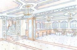 den tecknade handrestaurangen skissar Royaltyfri Fotografi