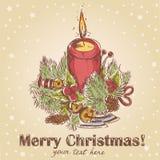 den tecknade julen hand den retro utsmyckade vykortet Royaltyfria Foton
