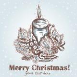 den tecknade julen hand den retro utsmyckade vykortet Royaltyfri Fotografi