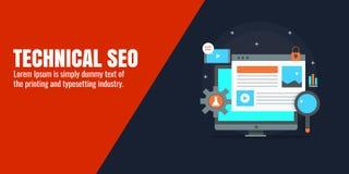 Den tekniska seoen - sök motoroptimization, sökandemarknadsföringen, digitalt affärsteknologibegrepp Plant designvektorbaner stock illustrationer