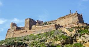 Den Templar slotten av Monzon Av det 10th århundradet Huesca Spanien för arabiskt ursprung Arkivbild