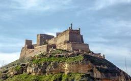 Den Templar slotten av Monzon Av det 10th århundradet Huesca Spanien för arabiskt ursprung Arkivfoto