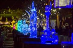 Den 20th internationella festivalen för isskulptur i Jelgavaen Lettland Royaltyfri Fotografi
