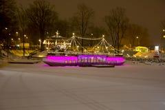 Den 20th internationella festivalen för isskulptur i Jelgavaen Lettland Royaltyfria Bilder