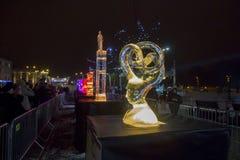 Den 20th internationella festivalen för isskulptur i Jelgavaen Lettland Arkivfoto