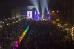 Den 20th internationella festivalen för isskulptur i Jelgavaen Lettland Arkivfoton