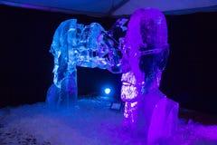 Den 20th internationella festivalen för isskulptur i Jelgavaen Lettland Royaltyfri Bild