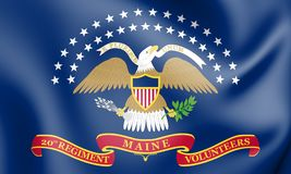 Den 20th Maine Volunteer Infantry Regiment Flag vektor illustrationer