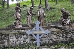 Den 10th stationen av korset med Jesus från Sainte Anne de Baupre Sanctuary från Quebec Royaltyfri Bild