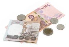 Den thailändska bahten myntar bakgrund Thailand pengar Arkivfoton