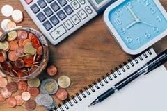 Den thailändska bahten myntar pengar, finansiellt plan Arkivbilder