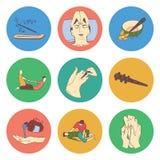 Den thailändska massagen isolerade framlänges färgsymbolsuppsättningen royaltyfri illustrationer