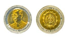 Den Thailand bahten myntar vit bakgrund Royaltyfri Fotografi
