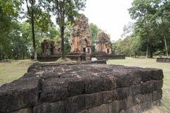 DEN THAILAND BURIRAM EN KHMER FÖRDÄRVAR PRANG KU SUAN TAENG Arkivbilder