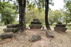 DEN THAILAND BURIRAM EN KHMER FÖRDÄRVAR PRANG KU SUAN TAENG Royaltyfri Foto