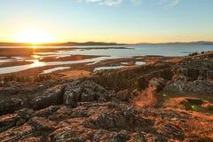 Den Thingvellir nationalparken, den guld- cirkeln turnerar, i Island Arkivbild