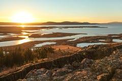 Den Thingvellir nationalparken, den guld- cirkeln turnerar, i Island Fotografering för Bildbyråer