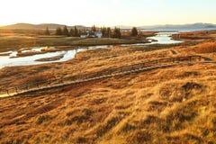 Den Thingvellir nationalparken, den guld- cirkeln turnerar, i Island Arkivfoto