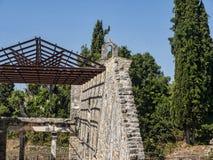 Den tidiga Christian Basilica av helgonet Kerkyra på den grekiska ön av Korfu Arkivbilder