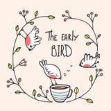 Den tidiga fågeln som säger med fåglar och kaffe royaltyfri illustrationer