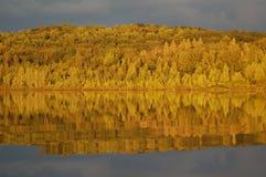 Den tidiga nedgången lämnar att reflektera på sjön efter åskväder Arkivfoton