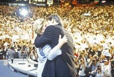 Den tidigare vicepresidentet Al Gore levererar godtagandeanförande på den 2000 demokratiska regeln på Staples Center, Los Angeles Arkivbilder