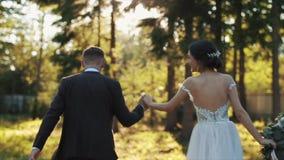Den tillbaka sikten av ett gift par som går rymma händer parkerar in, i höst lager videofilmer
