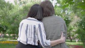 Den tillbaka sikten av ett ungt nätt par i tillfällig kläder som spenderar tid i, parkerar tillsammans och att ha ett datum Sitta stock video