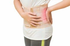 den tillbaka skadan smärtar kvinnan Arkivfoton