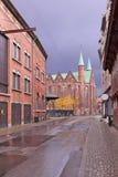 Den tillbaka väggen av den Århus teatern i 19 thårhundradebyggnader av röd tegelsten och den medeltida domkyrkan Royaltyfria Bilder