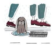 Den tillfälliga hunden på gatan Hemlös valp med ledsen blick under regn Hand tecknad vektorillustration stock illustrationer
