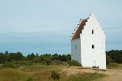 Den Tilsandede Kirke Sand-begravd kyrka, Skagen, Jutland, Denma Arkivbilder
