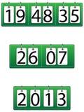 Den Time, datum- och årsfunktionen tar tid på/kalendern royaltyfri illustrationer