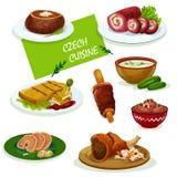 Den tjeckiska kokkonstmatställen besegrar tecknad filmmenydesign stock illustrationer