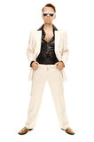 Den tokiga diskodansare i vit passar och slingrar läderkängor Royaltyfria Foton