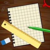 Den tomma anteckningsboken med Copyspace visar den tomma illustrationen 3d Royaltyfri Fotografi