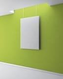Den tomma bilden på den gröna packade väggen för galleribild för bakgrund 3d framförd interior vektor illustrationer