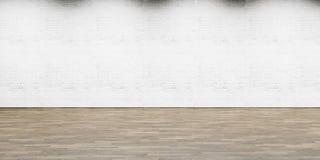 Den tomma delen av vit målade tegelstenväggen med trä royaltyfria foton