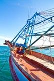 Den tomma fiskebåten. Arkivbilder