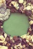 Den tomma fotoramen och torkade blommor med tappningfiltret färgar Royaltyfria Bilder