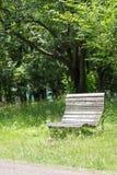 Den tomma gamla träbänken i ett stillsamt parkerar fotografering för bildbyråer